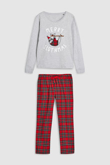 Next Womens Merry Slothmas Tartan Pyjamas