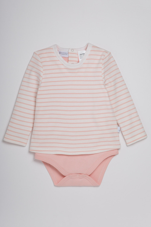 Pumpkin Patch Bodysuit with Striped Over Top