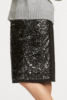 Next Sequin Front Denim Skirt - Tall