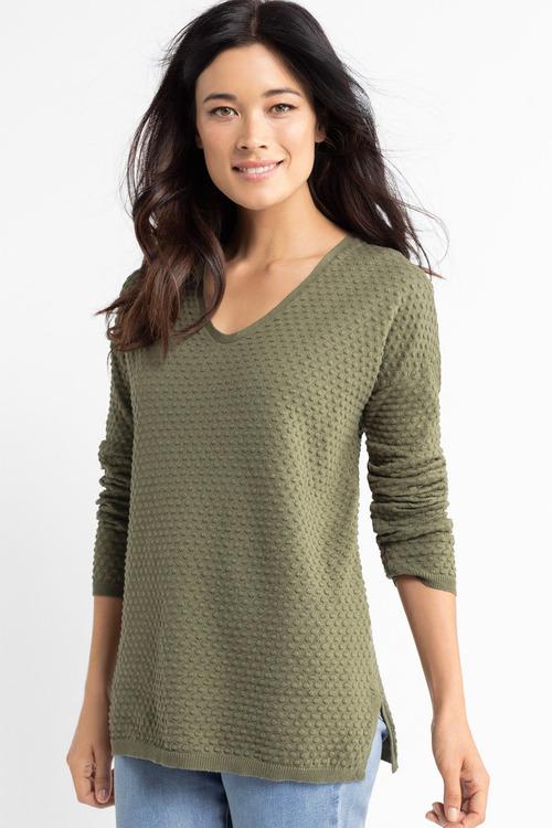 Capture Bobble Knit V Neck Sweater