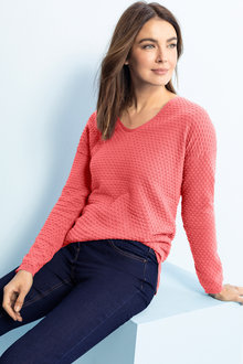 Capture Bobble Knit V Neck Sweater - 221693
