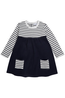 Pumpkin Patch Breton Stripe Dress with Pockets