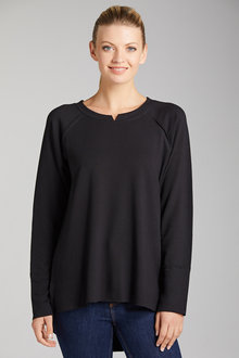 Capture French Terry Panel Detail Long Sleeve Top - 221711