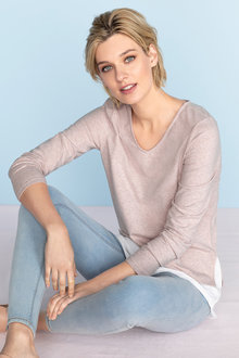 Capture V Neck Mock Layer Long Sleeve Tee - 221712