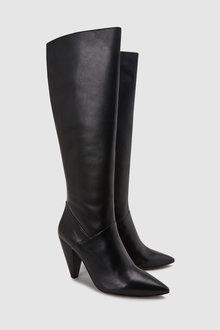 Next Cone Heel Knee High Boots