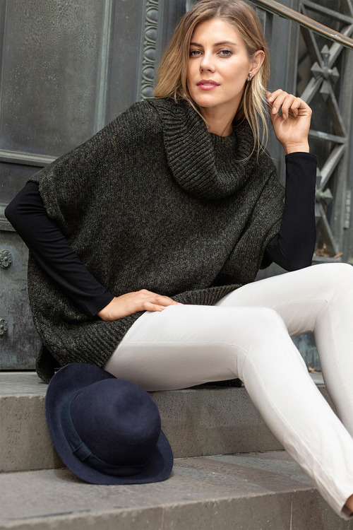 Capture Cowl Neck Cable Detail Poncho