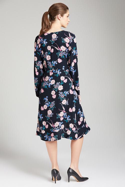 Capture Mock Wrap Long Sleeve Dress