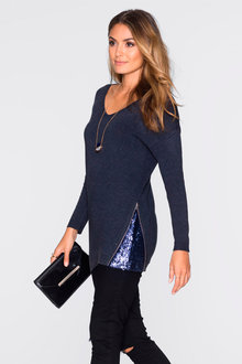 Urban Side Sequin Zip Jumper - 221876