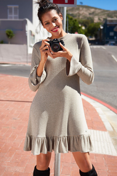 Urban Knit Dress with Ruffle Hem