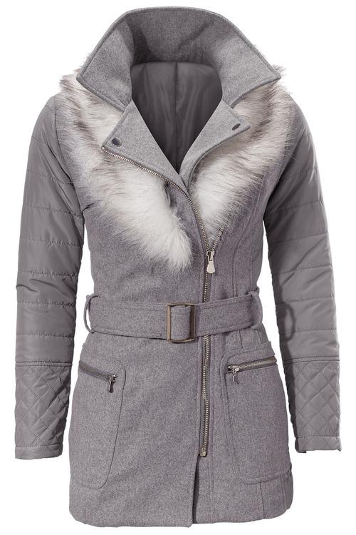 Heine Removable Collar Belted Coat