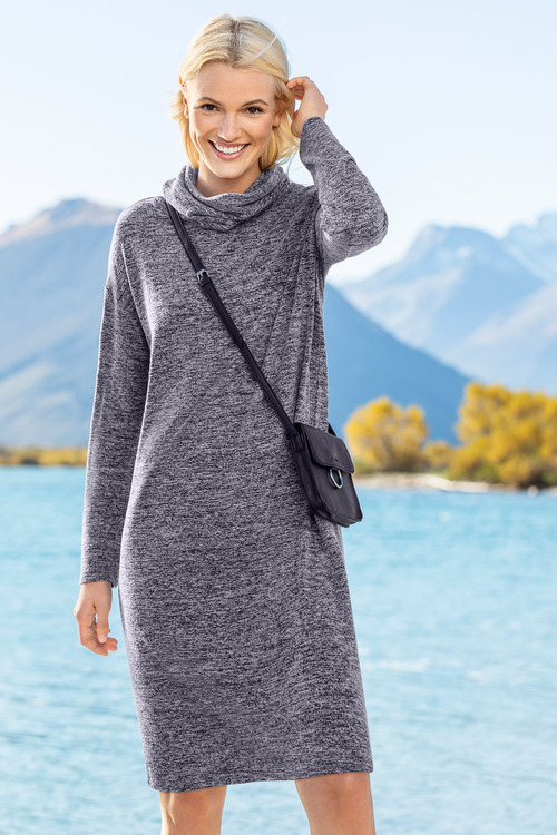 Capture Cowl Neck Long Sleeve Dress