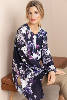 Grace Hill Longline Layered Long Sleeve Shirt - 221930