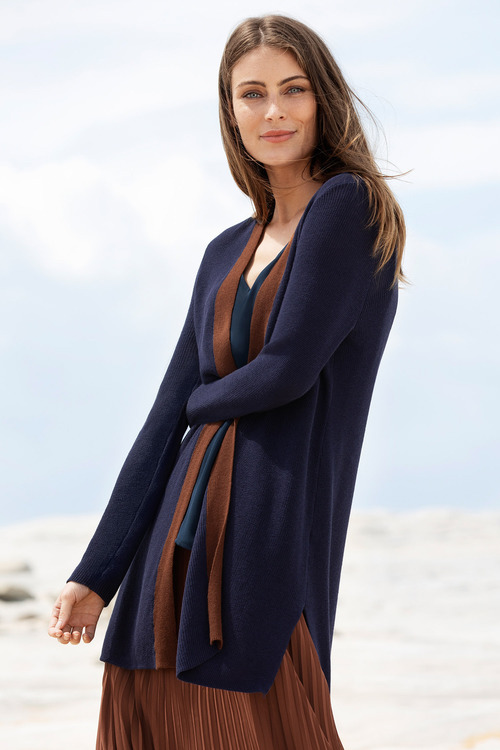Grace Hill Longline Colour Block Cardi
