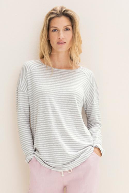 Emerge Panelled Stripe Linen Long Sleeve Top