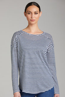 Emerge Panelled Stripe Linen Long Sleeve Top - 221948