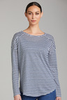 Emerge Panelled Stripe Linen Long Sleeve Top