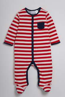 Pumpkin Patch Red Stripe Sleepsuit