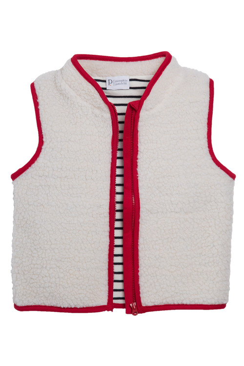 Pumpkin Patch Sherpa Vest with Striped Lining