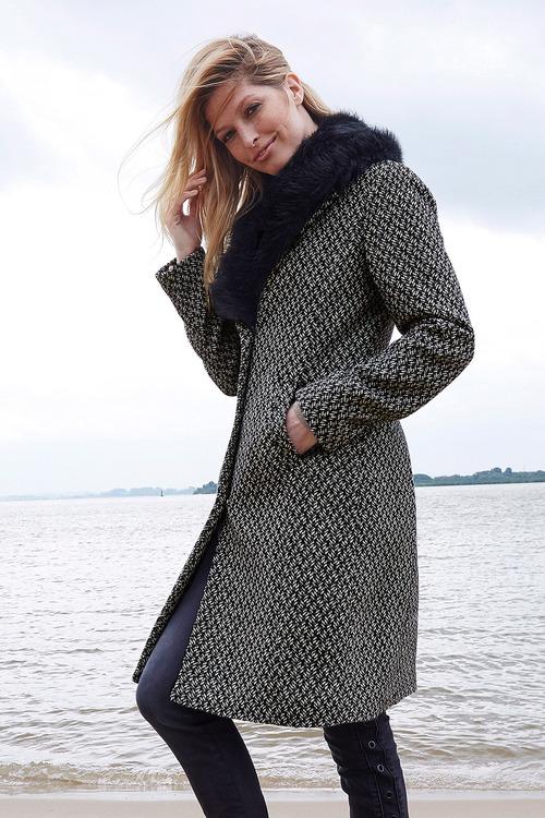 Urban Removable Faux Fur Collar Coat