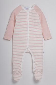 Pumpkin Patch Striped Sleepsuit