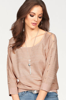 Urban Metallic Pearl Sleeve Sweater