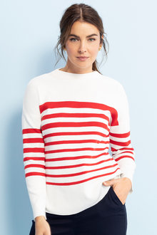Capture Funnel Neck Breton Stripe Sweater