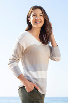 Capture V Neck Ribbed Stripe Sweater