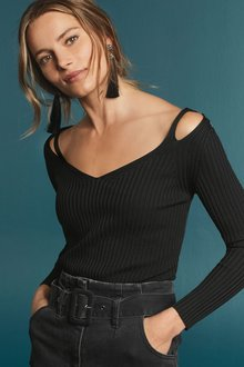 Next Cut Out Shoulder Rib Sweater