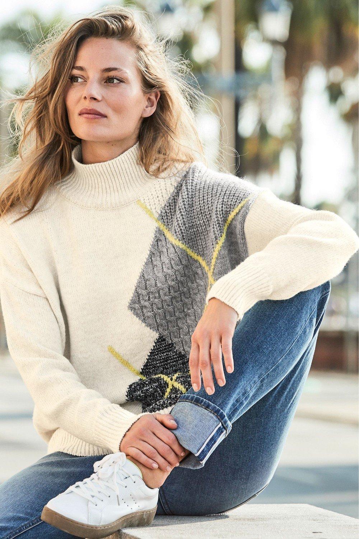 aee45630b938c Next Argyle Pattern Funnel Neck Sweater Online