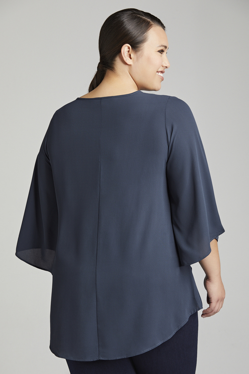 Plus Size - Sara Double Layer Keyhole Top