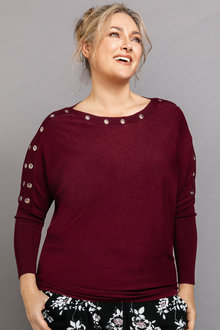 Plus Size - Sara Eyelet Sleeve Sweater