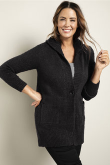 Plus Size - Sara Poodle Hooded Cardi