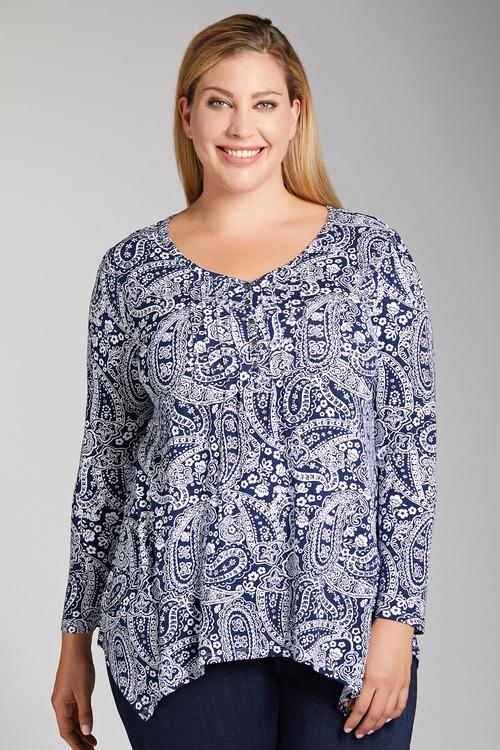 Plus Size - Sara Pleat Neck Tee