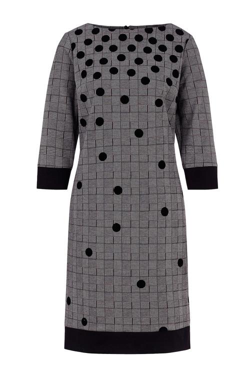 Euro Edit Dot Detail Check Dress