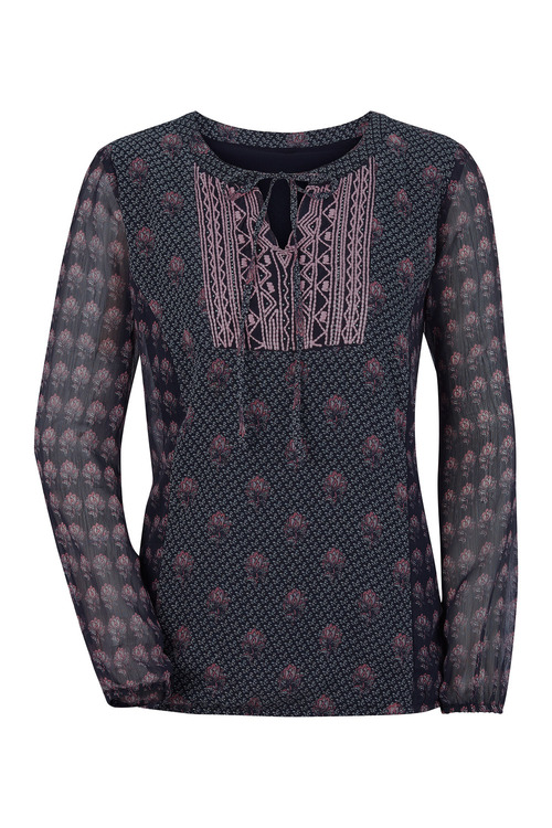 Euro Edit Embroidered Print Top