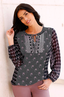 Euro Edit Embroidered Print Top - 222166