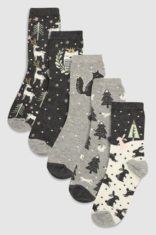 Next Forest Pattern Ankle Socks Five Pack