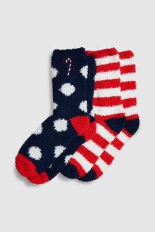 Next Candy Cane Embroidered Bed Socks Two Pack