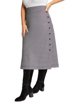 Sara Ponte Button Skirt - 222358