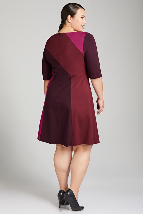 Plus Size - Sara Panel Detail Ponti Dress