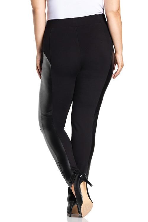 Plus Size - Sara PU Ponte Pant