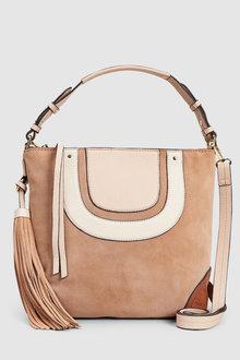 Next Leather Panelled Hobo Bag