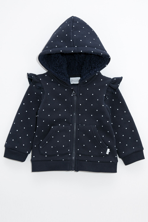 Pumpkin Patch Navy Spot Fleece Hoodie with Frill