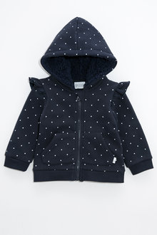 Pumpkin Patch Navy Spot Fleece Hoodie with Frill - 222413