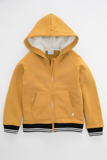 Pumpkin Patch Fleece Hoodie with Striped Rib