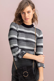 Emerge Ribbed Stripe Sleeve Detail Sweater - 222549