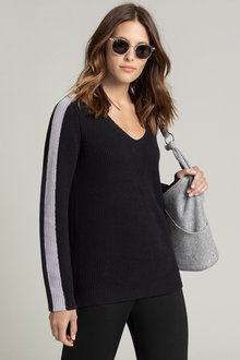 Emerge V Neck Ribbed Contrast Sweater