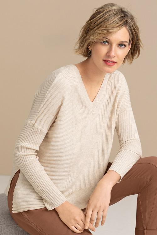 Emerge Rib Asymmetrical Hem Sweater