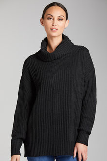 Grace Hill Roll Neck Chunky Rib Sweater