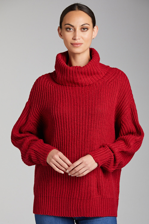 Grace Hill Roll Neck Chunky Rib Sweater